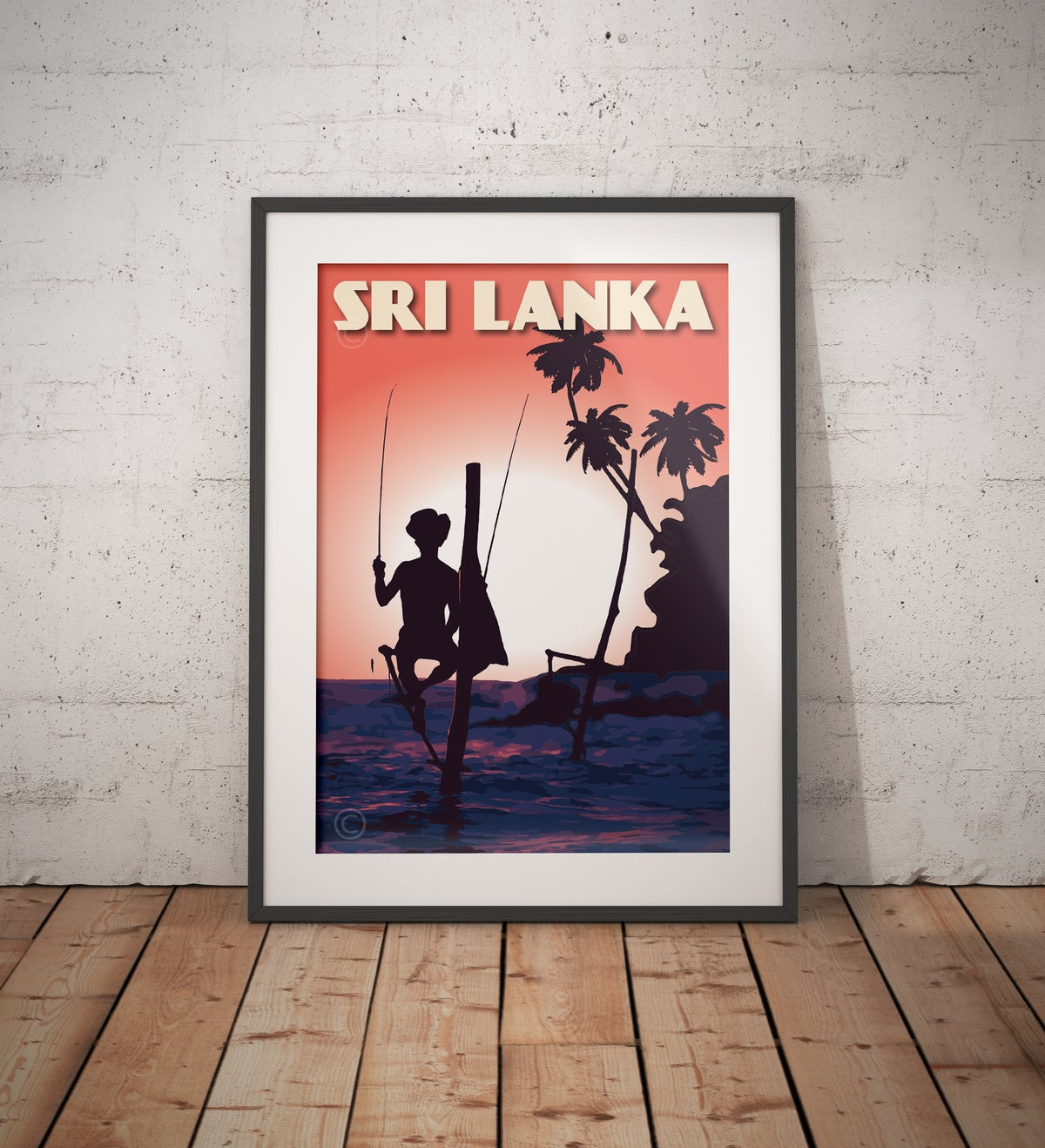 Image of Vintage Poster Sri Lanka - Fisherman on Stilt - Fine Art Print