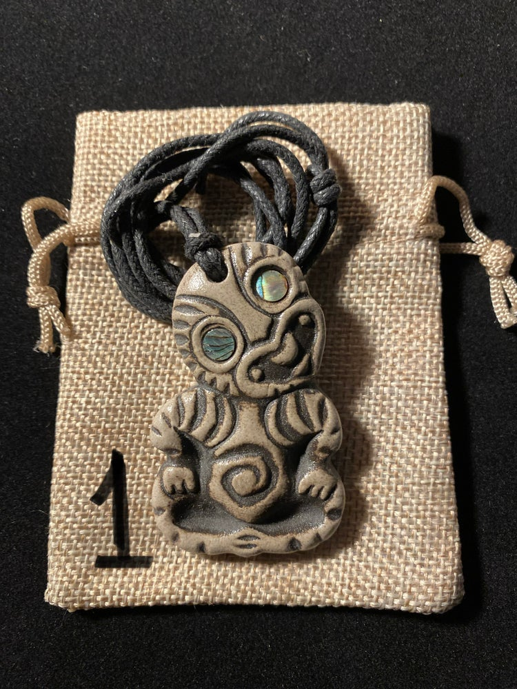 Image of Assorted Heo'Hei Ceramic Tiki Pendants With Abelone Shell Eyes (Continued)