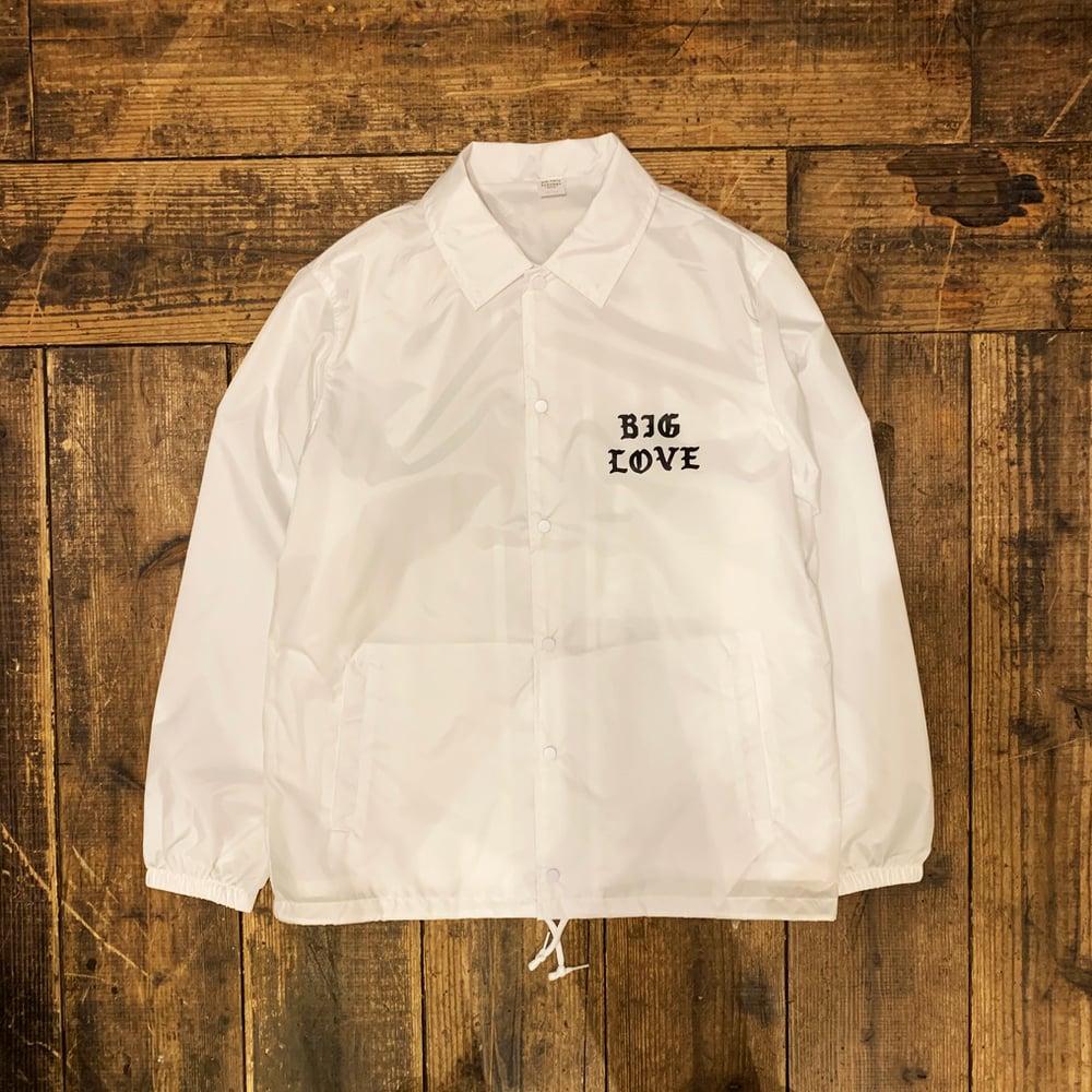 Image of BIG LOVE NYLON COACH JACKET CLASSIC LOGO -WHITE-