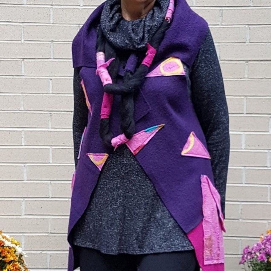 Image of fabric collage vest, purple, one of a kind