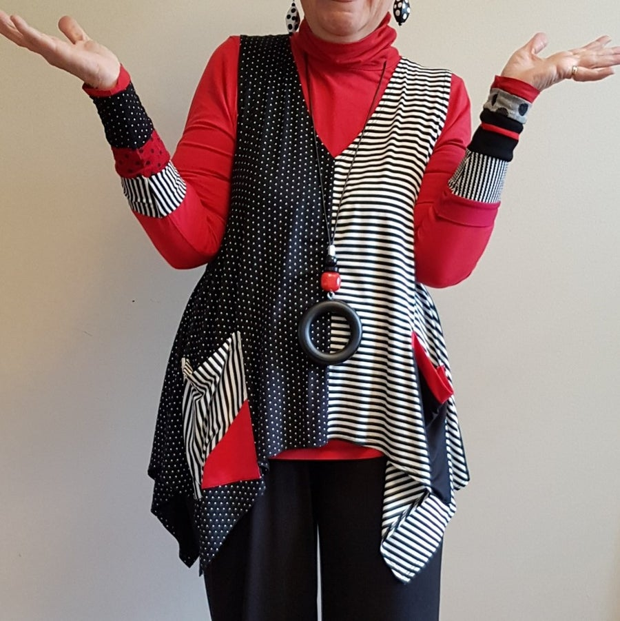 Image of stripes and polka dots vest