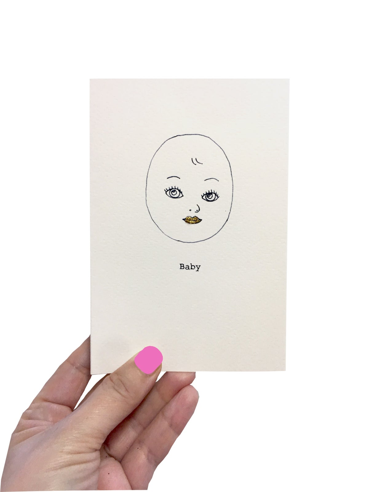 Outline Baby Card Gold