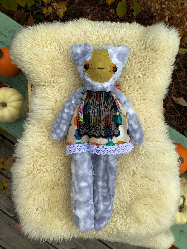 Image of Cuddle Sized Halloween Kitty Plush :: Silver w/ Yellow Nose (Not a Floppy Kitty)