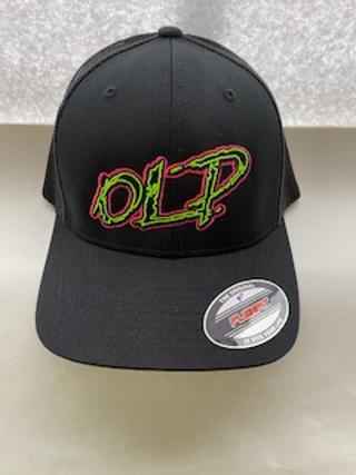 Image of OLP Rad Neon Logo All Black Mesh Hat (Flex Fit)