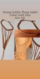 Image 1 of Strung Golden Thong Anklet