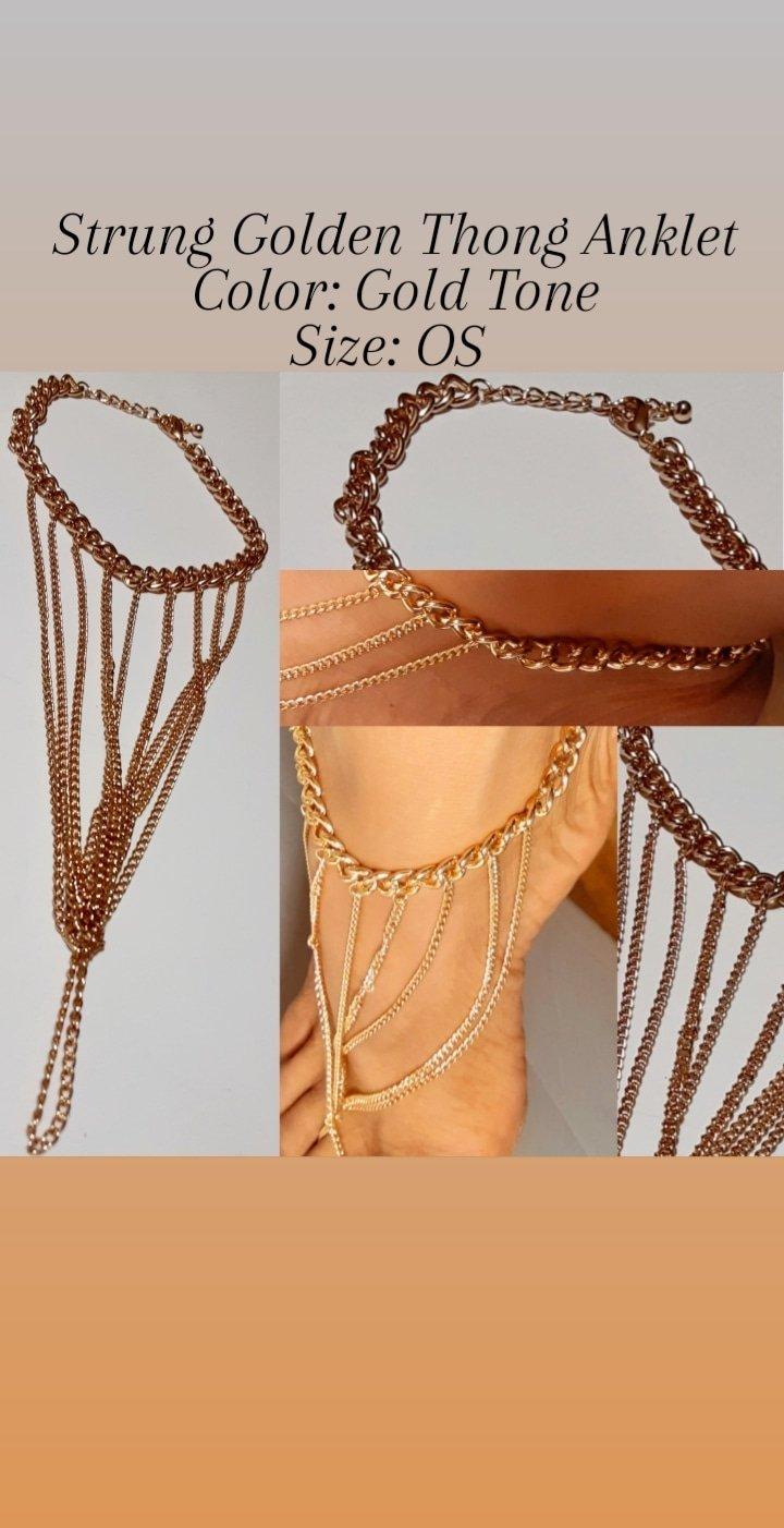 Image of Strung Golden Thong Anklet