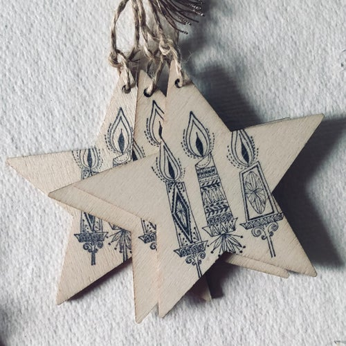Image of Wooden Hand Printed Decorations