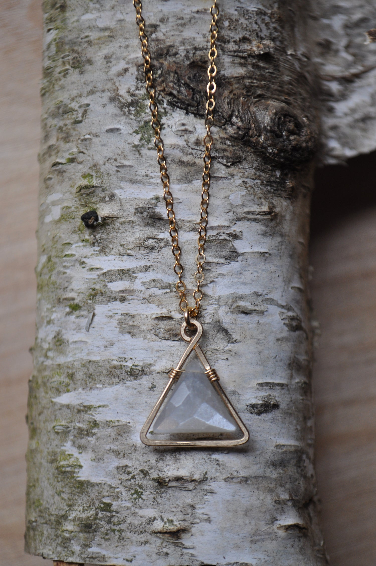 Image of Gray Moonstone Triangle Necklace