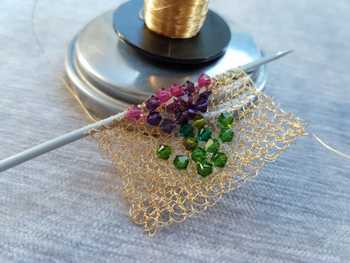 Image of CRYSTAL THISTLE BROOCH Knitting Kit - Gold