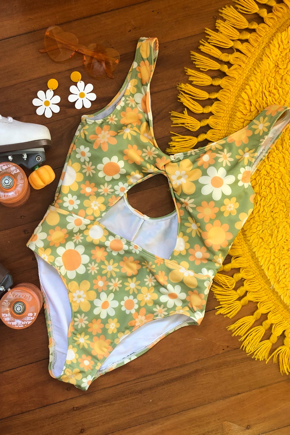 Centre cutout one piece in Sunny side up green