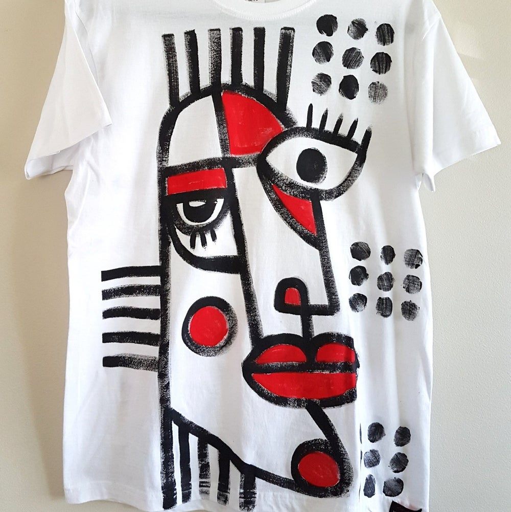 Image of #3 hand painted white t-shirt