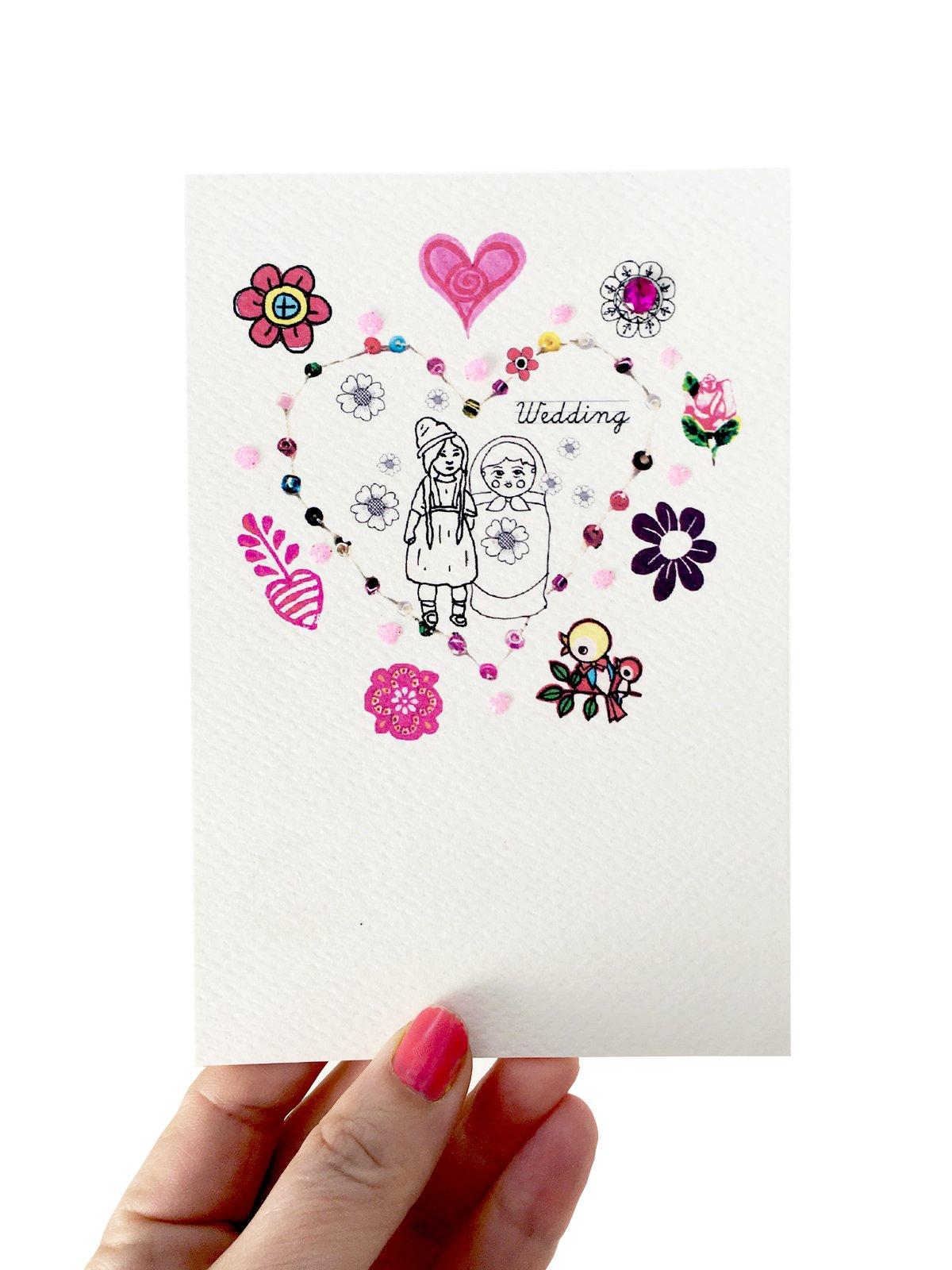 Beaded Wedding Card Female Wedding
