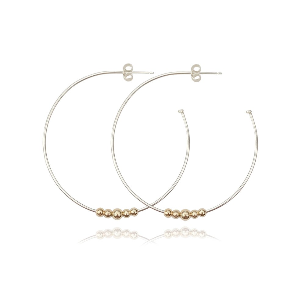 Image of Large silver hoops with gold beads