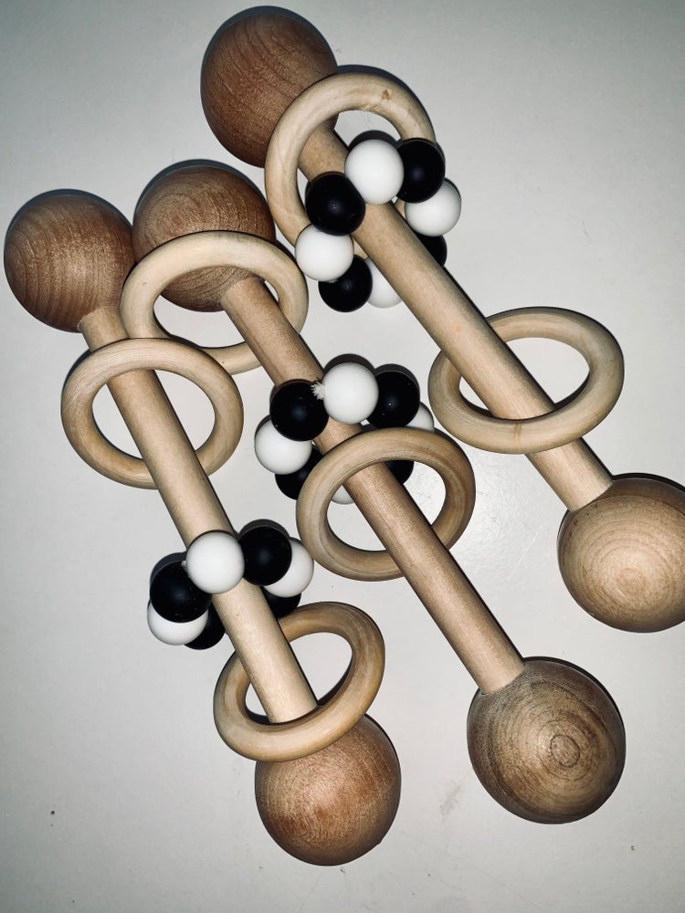 Image of Coloured Wooden Rattles