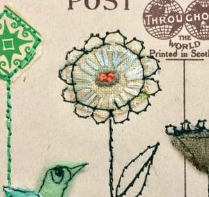 Little Green Bird Framed Postcard Piece