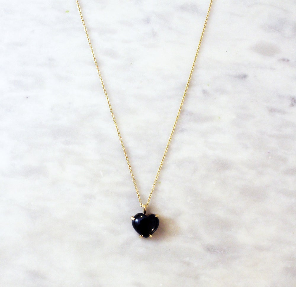 Image of Black Onyx Heart Necklace