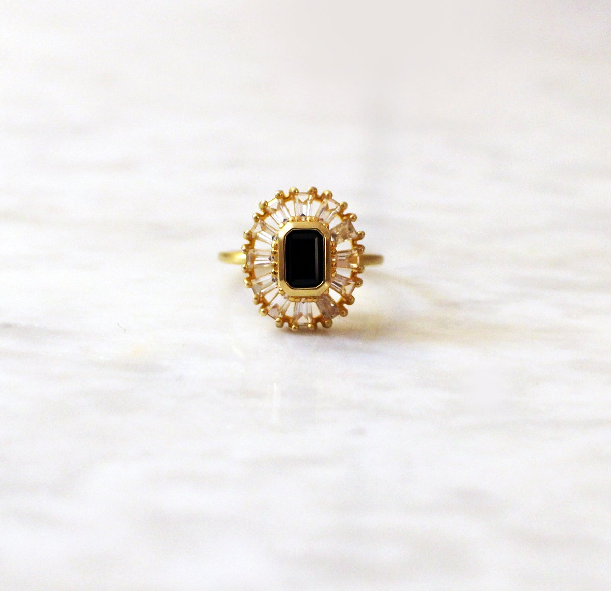 Image of DECO BAGUETTE ONYX RING