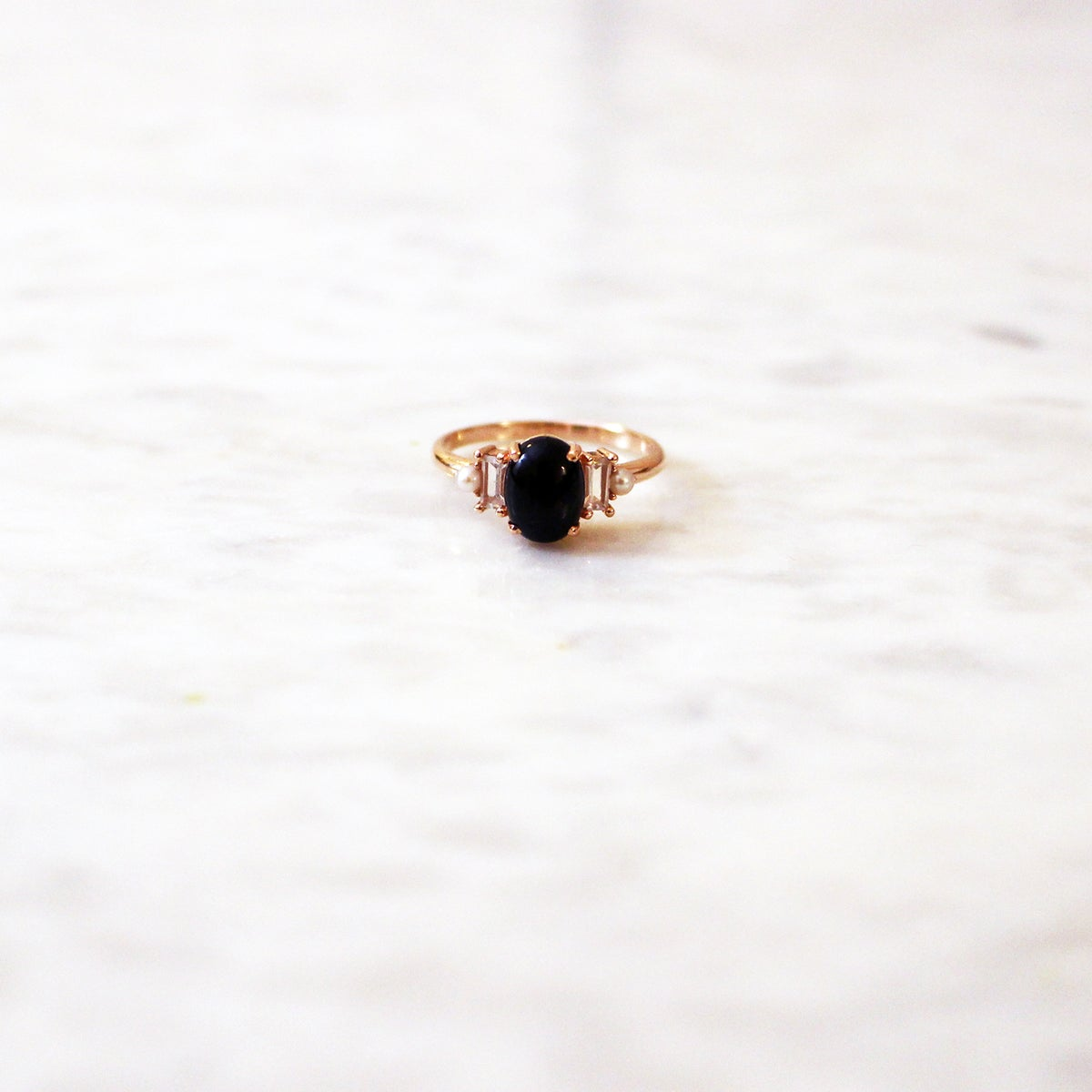 Image of Deco onyx ring