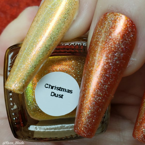 Image of Christmas Dust – topper with gold and red/orange/green Aurora shimmer and holo flakes