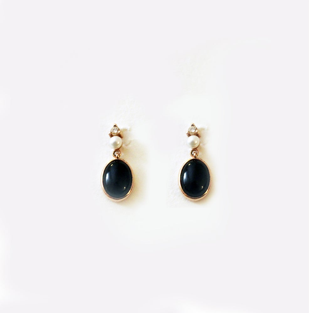 Image of Victorian onyx earring