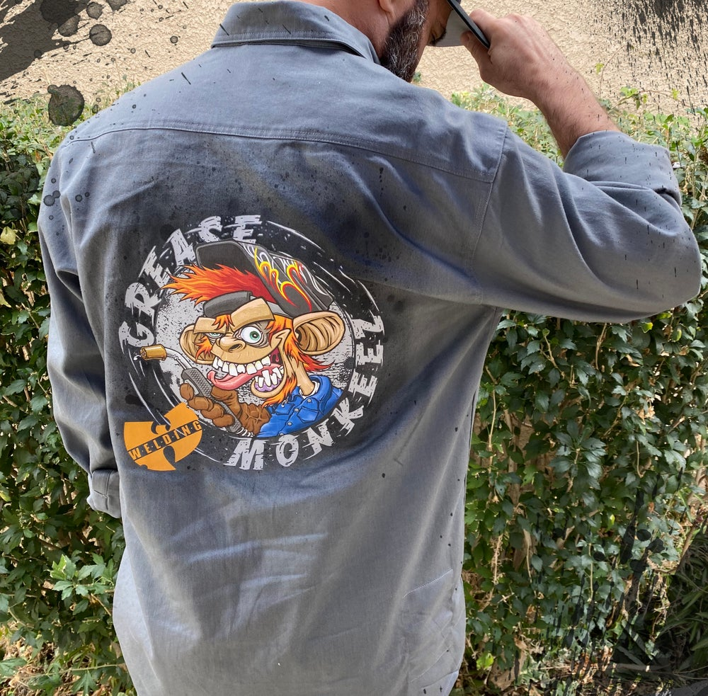 Image of Grease Monkeez - Welding/Mechanic Button Down Shirt with name patch