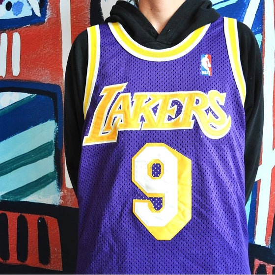 Image of Vintage 1995 Los Angeles Lakers Nick Van Exel Champion Authentic Jersey Sz.40