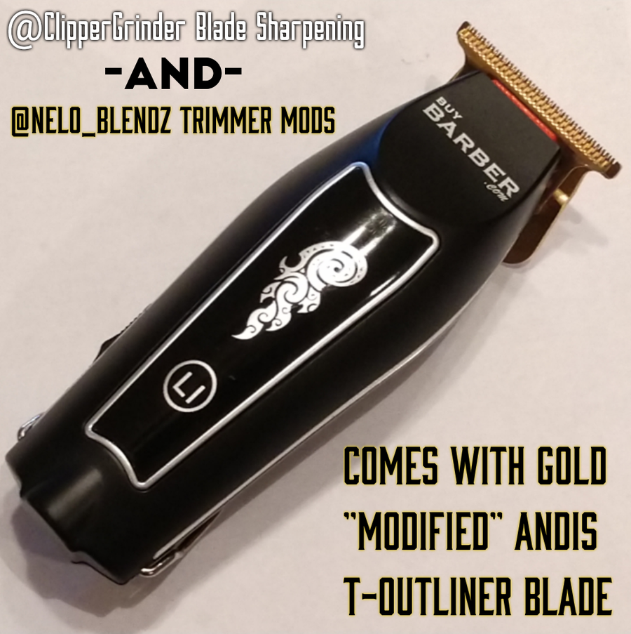 Image of (3 Week Delivery/High Order Volume) Buy Barber Cordless TRIMMER W/Gold MODIFIED GTX BLADE