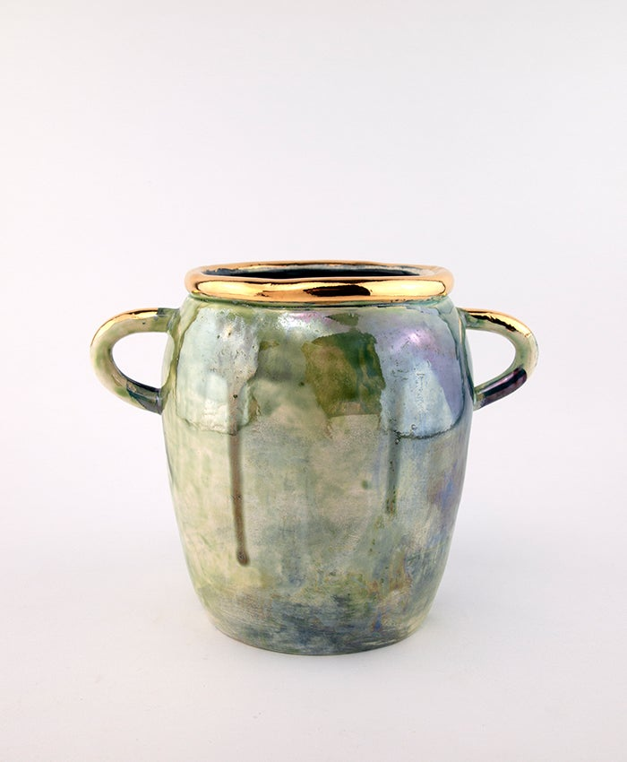 Antique looking green and blue pot no 1