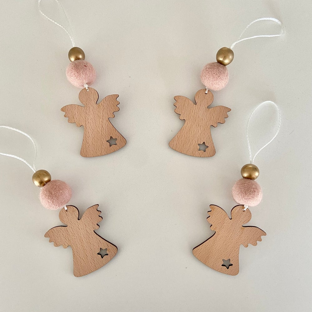 Image of 4 x Wooden Christmas ornaments - Angels