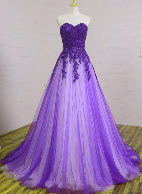 Gorgeous Long Tull Purple Prom Dress with Lace, Sweetheart A-line Formal Dress