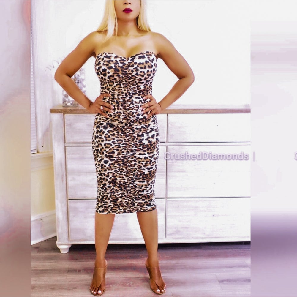 Image of Leopard Ruched Dress