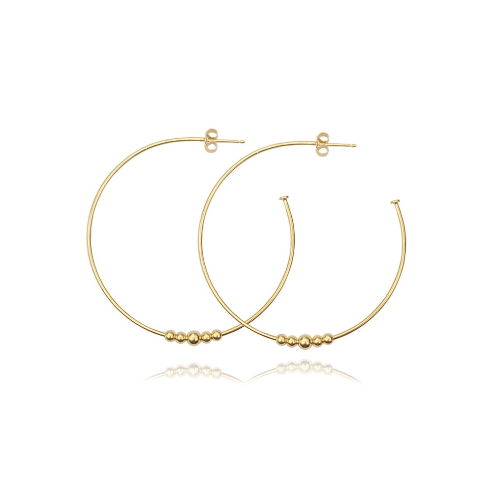 Image of Large gold hoops with 5 beads