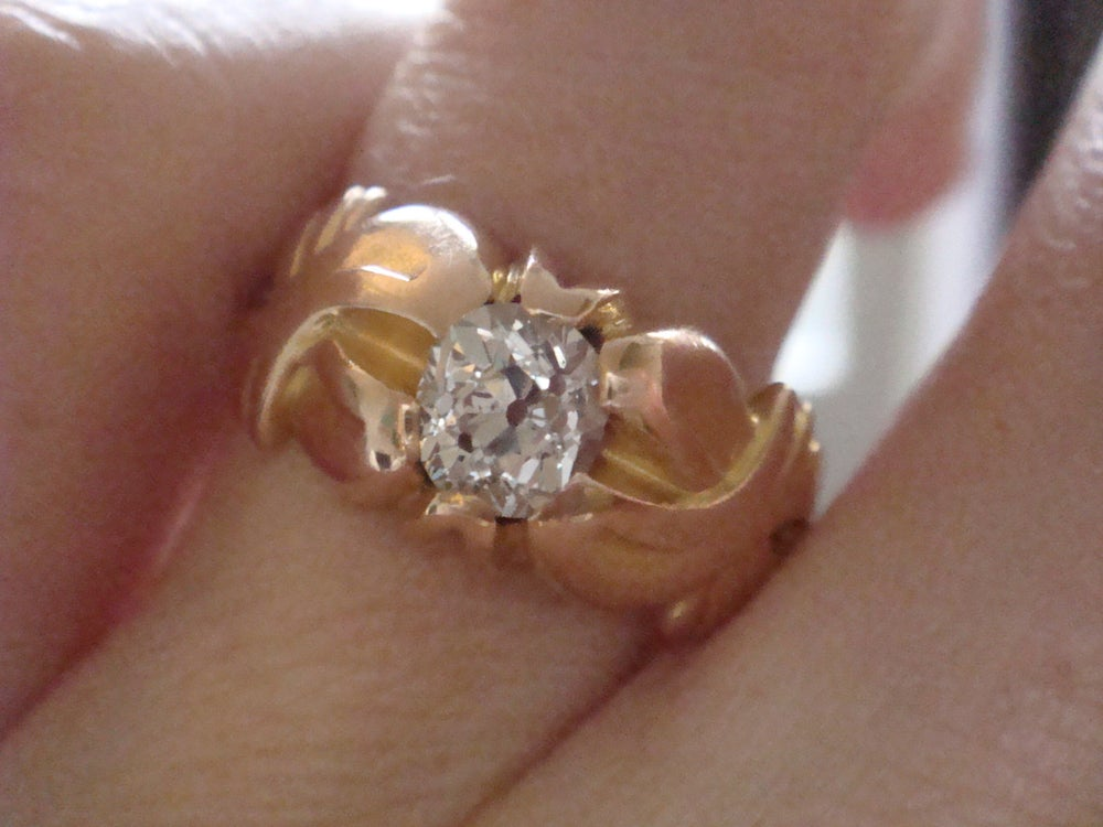 Image of Art Nouveau 18ct rose gold 0.65ct diamond solitaire thick band ring