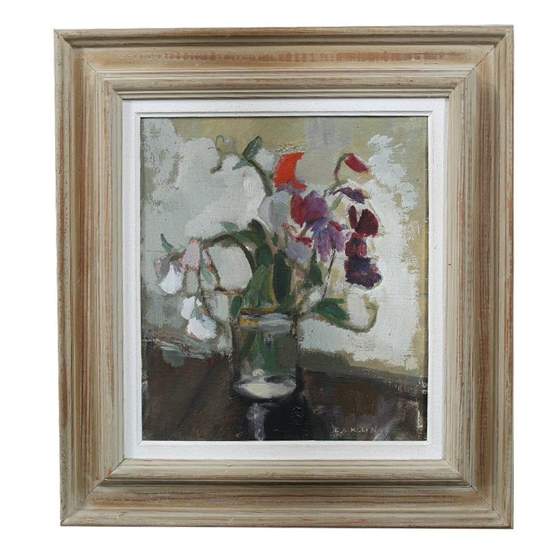 Image of Mid Century, Swedish Oil Painting, 'Sweet Peas,' ERIK ALMGREN