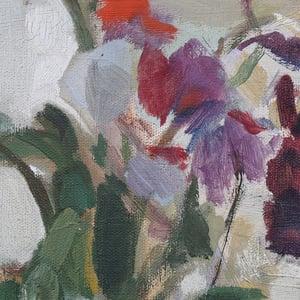 Image of Mid Century, Swedish Oil Painting, 'Sweet Peas,' ERIK ALMGREN