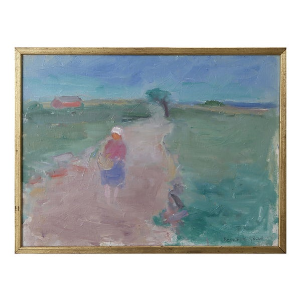 Image of Mid Century Oil Painting, 'Evening Walk,' BERNDT OLOF SJÖWALL