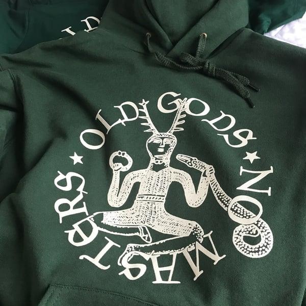 Image of OLD GODS HOODED SWEATSHIRT - GREEN