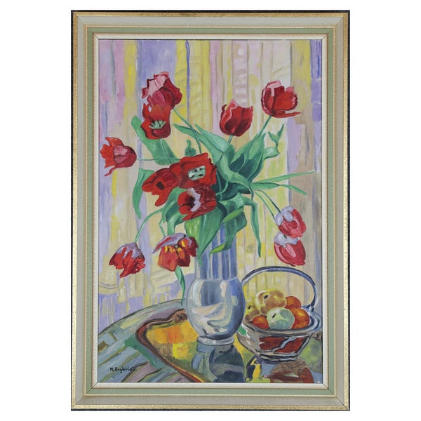 Image of Mid Century, Swedish Oil Painting, 'Tulips',  K Englevist