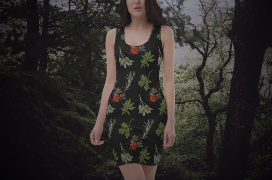 Image of Sacred plants fitted dress.