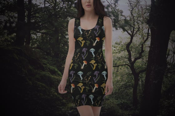 Image of Magical mushrooms fitted dress