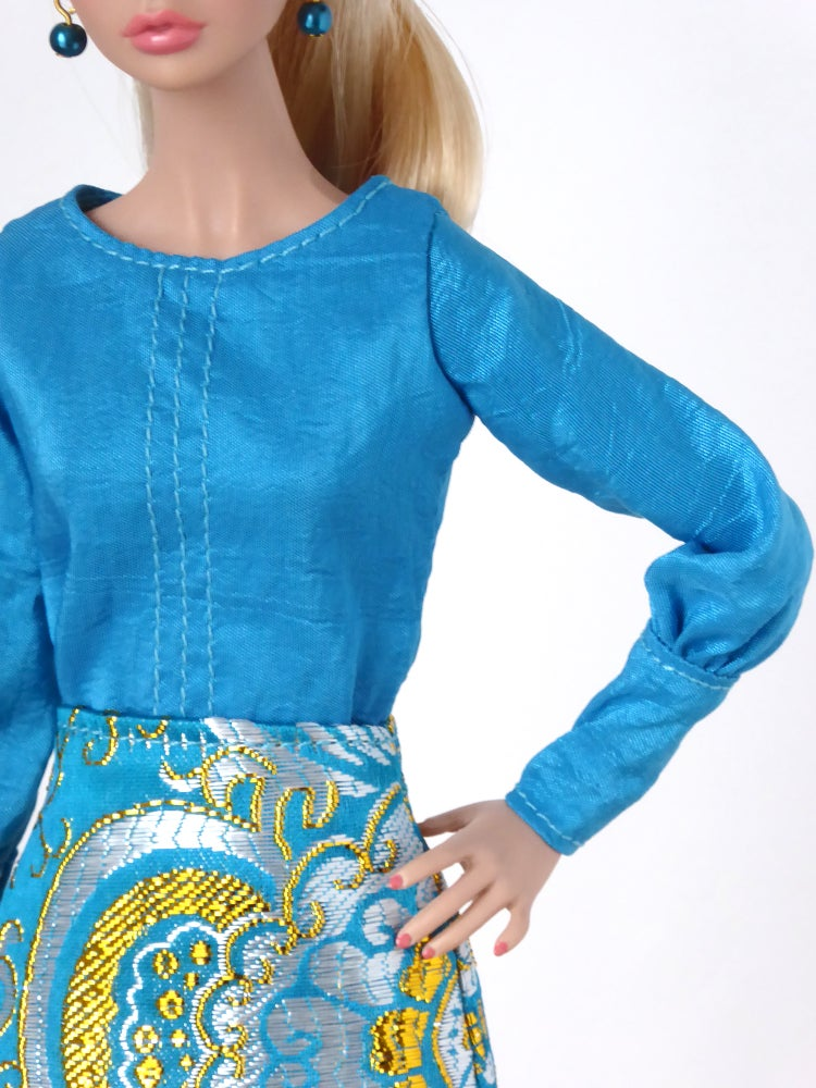 Image of LAST ITEMS Vibrant blue blouse for Poppy Parker (for other dolls see description)