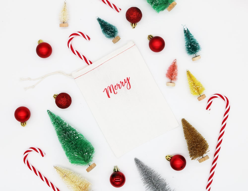 Image of Merry Drawstring Treat Bag