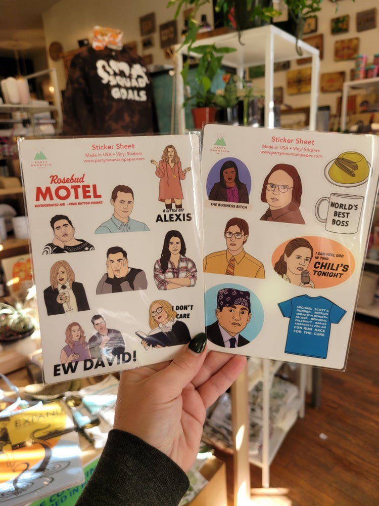 Image of Schitt's Creek, The Office, Friends, or Parks and Rec Sticker Pack