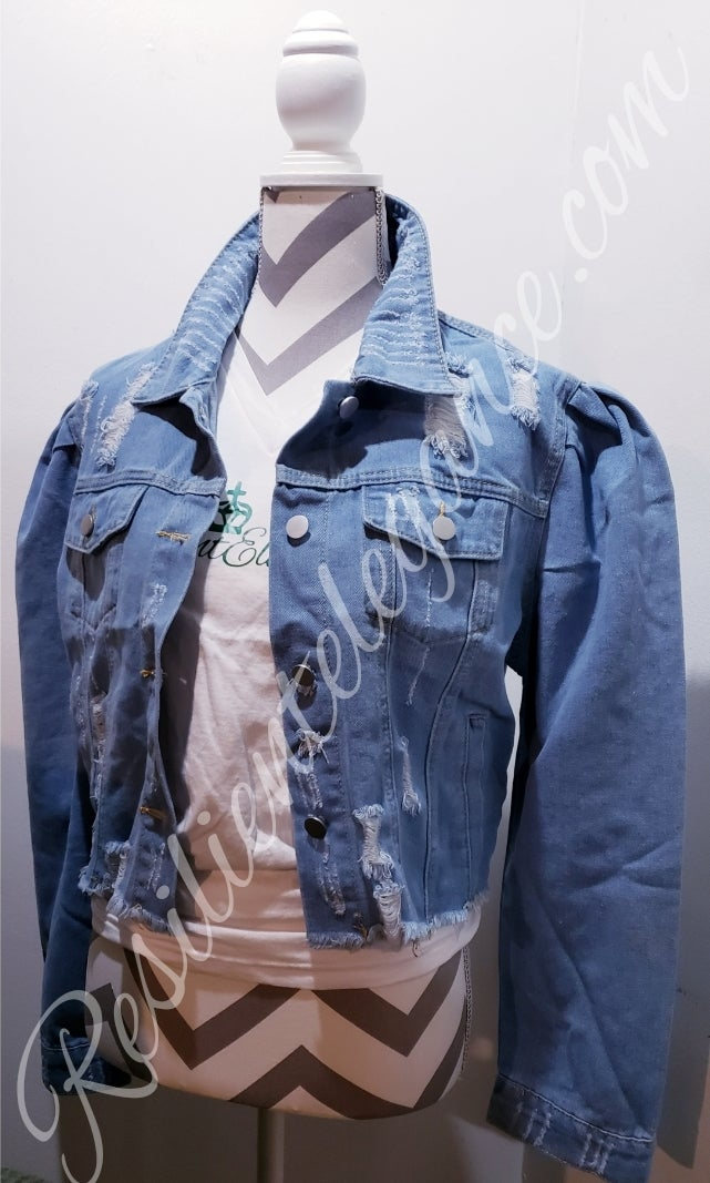 Image of RE Denim Puffy Sleeved Jacket/ RE Ruffled Mesh Tee (Body Con Fit)