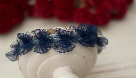 Image of Polka dots tulle bows headband (blue)