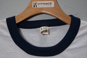 Image of Deadstock Vitnage  1980's Smith & Wesson Employee Ringer T-Shirt size Large Screen Stars