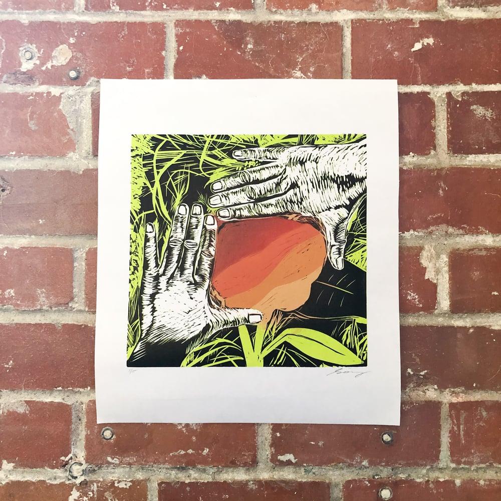 """NEW FRAME"" Reduction Linocut Print"