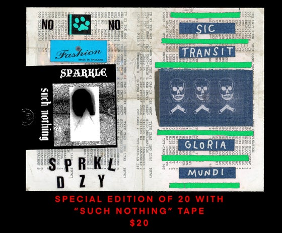 """Image of SIC TRANSIT GLORIA MUNDI with """"SUCH NOTHING"""" cassette tape. edition of 20"""
