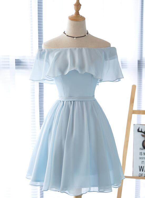 Cute Off Shoulder Chiffon Knee Length Wedding Party Dress, Short Prom Dress