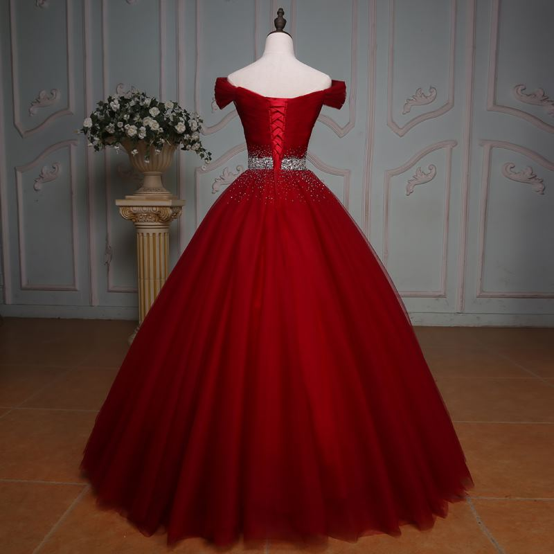 Wine Red Sequins Sweetheart Tulle Formal Dress, Long Prom Dress